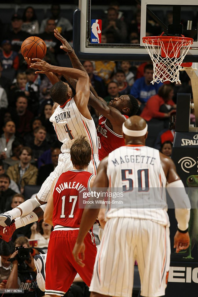 Derrick Brown #4 of the Charlotte Bobcats has his shot blocked by the Milwaukee Bucks during the game at the Time Warner Cable Arena on December 26, 2011 in Charlotte, North Carolina.