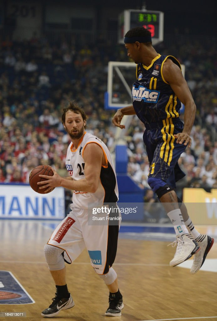 Derrick Byars of Berlin challenges JeKel Foster of Ulm during the Beko BBLTop Four final game between Ratiopharm Ulm and Alba Berlin at O2 World on March 24, 2013 in Berlin, Germany.