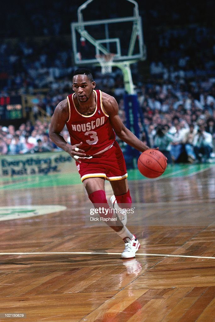 Derrick Chievous #3 of the Houston Rockets drives the ball up court against the Boston Celtics during a game played in 1990 at the Boston Garden in Boston, Massachusetts.
