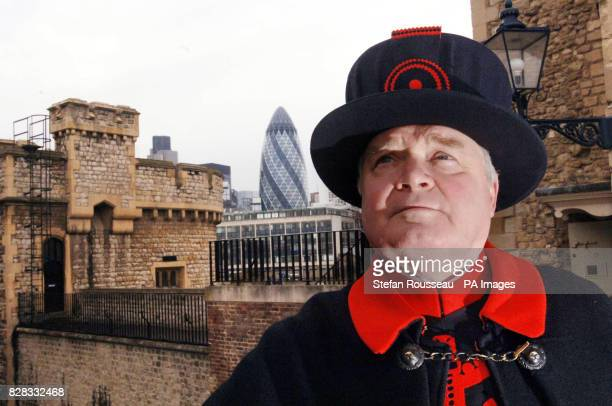 Derrick Coyle the Raven Master at the Tower of London stands by the famous ravens' new home Tuesday February 21 2006 The birds have been rehoused...