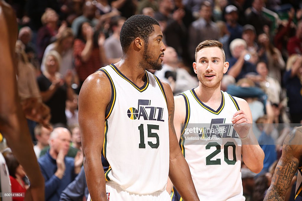 Derrick Favors and Gordon Hayward of the Utah Jazz during the game against the Indiana Pacers on December 5 2015 at Vivint Smart Home Arena in Salt...