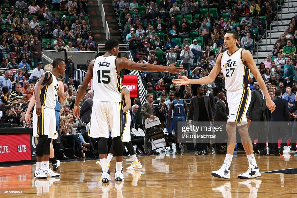Derrick Favors and Rudy Gobert of the Utah Jazz during the game against the Minnesota Timberwolves on March 23 2015 at EnergySolutions Arena in Salt...