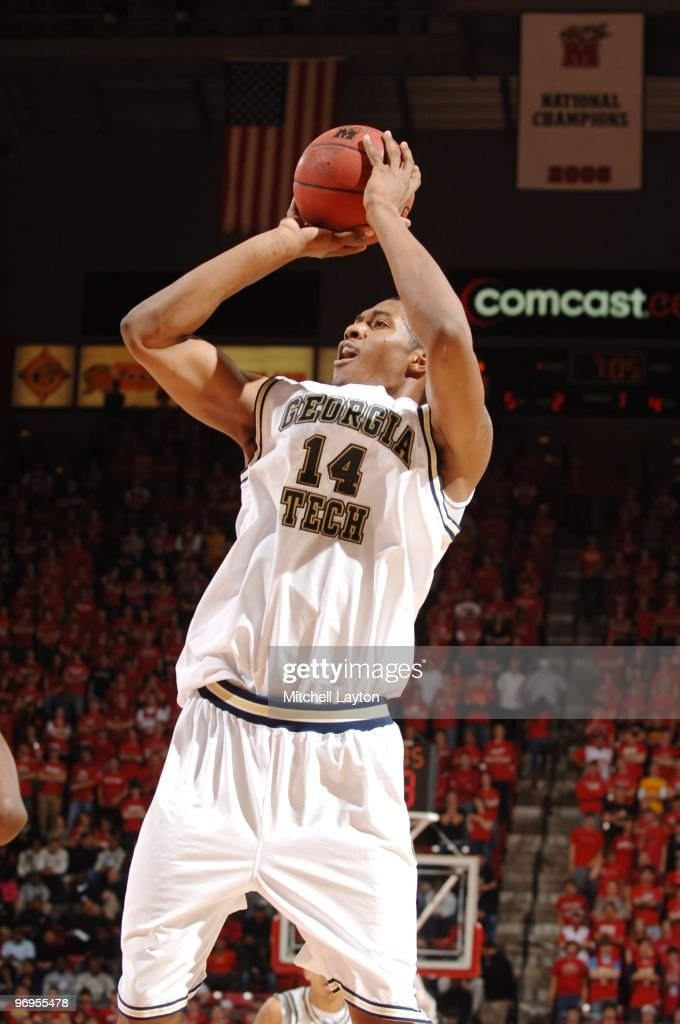Derrick Favors of the Georgia Tech Yellow Jackets takes a jump shot during a college basketball game against the Maryland Terrapins on February 20...