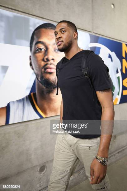 Derrick Favors of the Utah Jazz arrives at the arena before Game Three of the Western Conference Semifinals against the Golden State Warriors during...