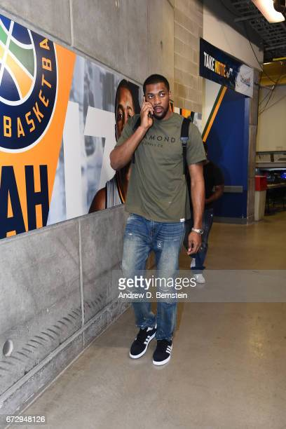 Derrick Favors of the Utah Jazz arrives at vivintSmartHome Arena before Game Four of the Western Conference Quarterfinals against the LA Clippers of...