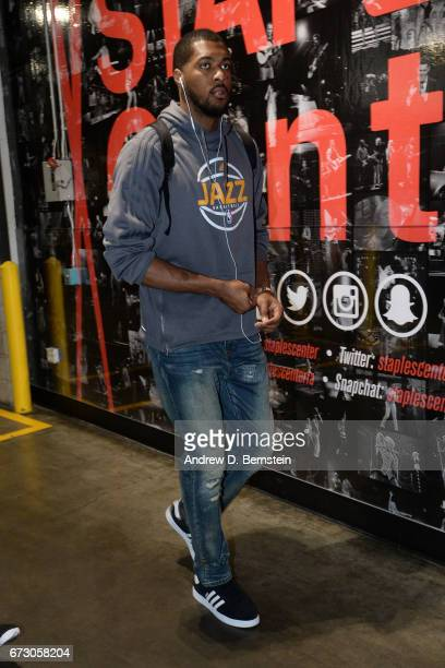 Derrick Favors of the Utah Jazz arrives before the game against the LA Clippers in Game Five of the Western Conference Quarterfinals of the 2017 NBA...
