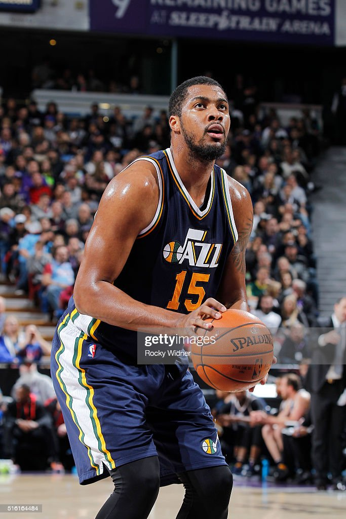 Derrick Favors of the Utah Jazz attempts a free throw shot against the Sacramento Kings on March 13 2016 at Sleep Train Arena in Sacramento...