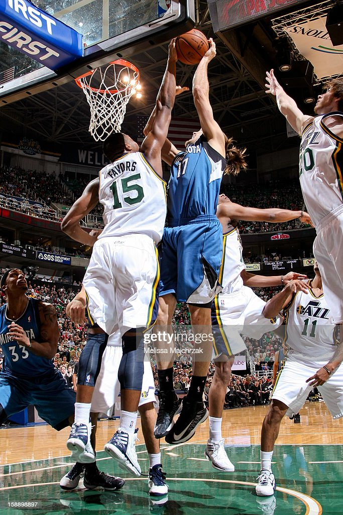 Derrick Favors #15 of the Utah Jazz blocks a shot attempt by Lou Amundson #17 of the Minnesota Timberwolves at Energy Solutions Arena on January 2, 2013 in Salt Lake City, Utah.