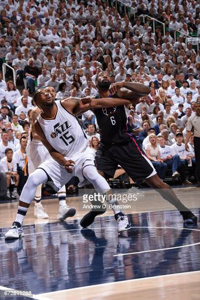 Derrick Favors of the Utah Jazz boxes out DeAndre Jordan of the LA Clippers during Game Three of the Western Conference Quarterfinals of the 2017 NBA...