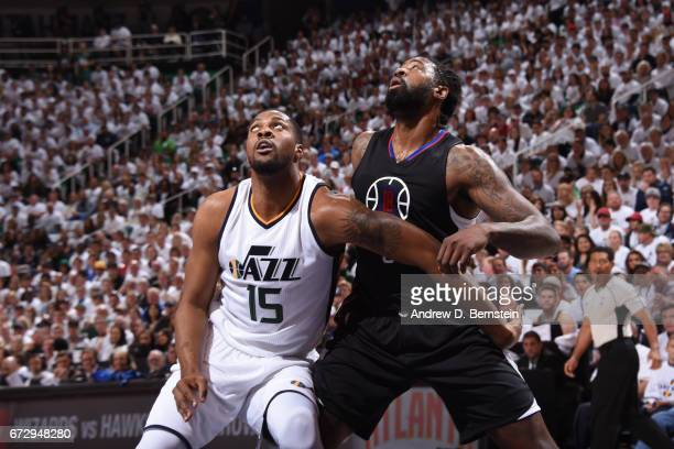 Derrick Favors of the Utah Jazz boxes out DeAndre Jordan of the LA Clippers during Game Four of the Western Conference Quarterfinals during the 2017...