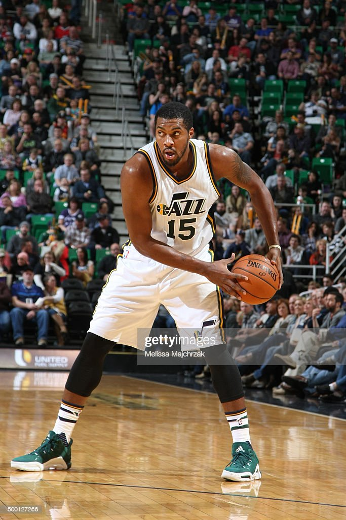 Derrick Favors of the Utah Jazz defends the ball against the Indiana Pacers during the game on December 5 2015 at Vivint Smart Home Arena in Salt...
