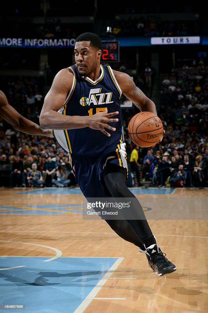 Derrick Favors of the Utah Jazz drives against the Denver Nuggets on February 27 2015 at the Pepsi Center in Denver Colorado NOTE TO USER User...