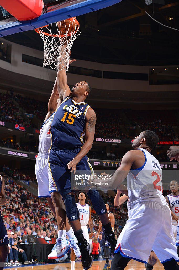 Derrick Favors #15 of the Utah Jazz drives to the basket against the Philadelphia 76ers at the Wells Fargo Center on November 16, 2012 in Philadelphia, Pennsylvania.