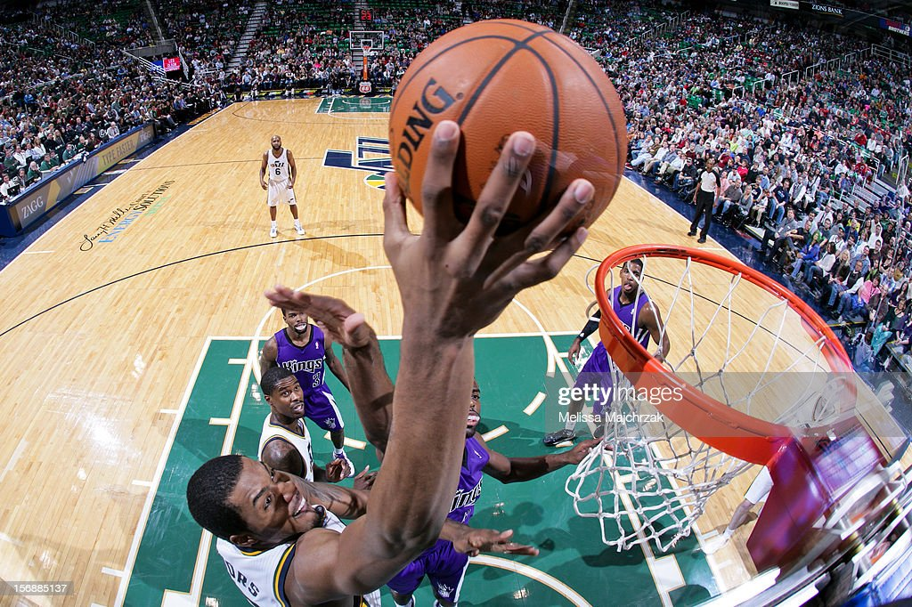 Derrick Favors #15 of the Utah Jazz drives to the basket against the Sacramento Kings at Energy Solutions Arena on November 23, 2012 in Salt Lake City, Utah.