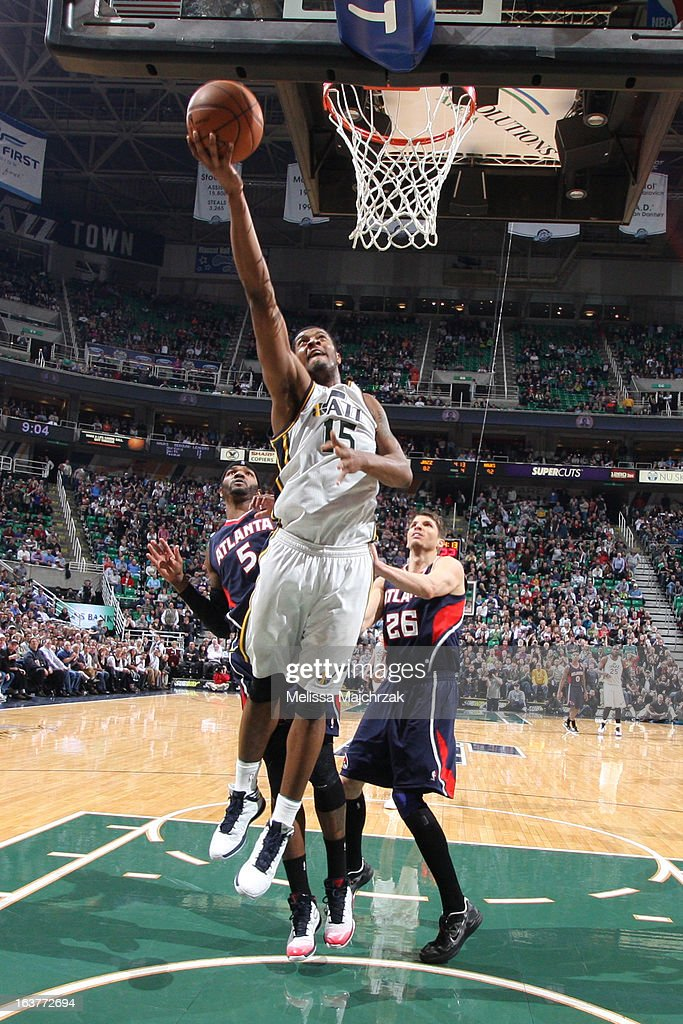 Derrick Favors #15 of the Utah Jazz drives to the basket against the Atlanta Hawks at Energy Solutions Arena on February 27, 2013 in Salt Lake City, Utah.