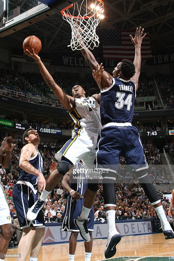 <a gi-track='captionPersonalityLinkClicked' href=/galleries/search?phrase=Derrick+Favors&family=editorial&specificpeople=5792014 ng-click='$event.stopPropagation()'>Derrick Favors</a> #15 of the Utah Jazz drives to the basket against the Oklahoma City Thunder on February 12, 2013 in Salt Lake City, Utah.