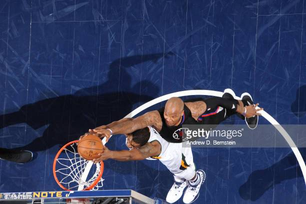 Derrick Favors of the Utah Jazz dunks the ball during the game against the Los Angeles Clippers during the Western Conference Quarterfinals of the...