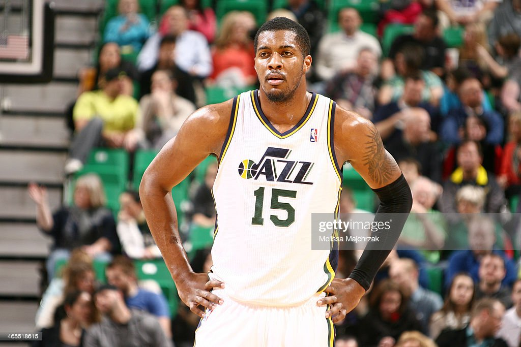 Derrick Favors of the Utah Jazz during a break in play against the Sacramento Kings at EnergySolutions Arena on January 27 2014 in Salt Lake City...