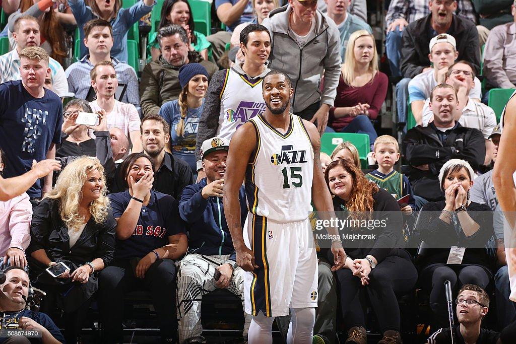 Derrick Favors of the Utah Jazz during the game against the Milwaukee Bucks on February 5 2016 at Vivint Smart House Arena in Salt Lake City Utah...