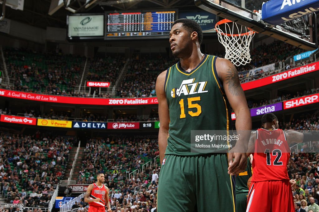 Derrick Favors of the Utah Jazz during the game against the Portland Trail Blazers on March 25 2015 at EnergySolutions Arena in Salt Lake City Utah...