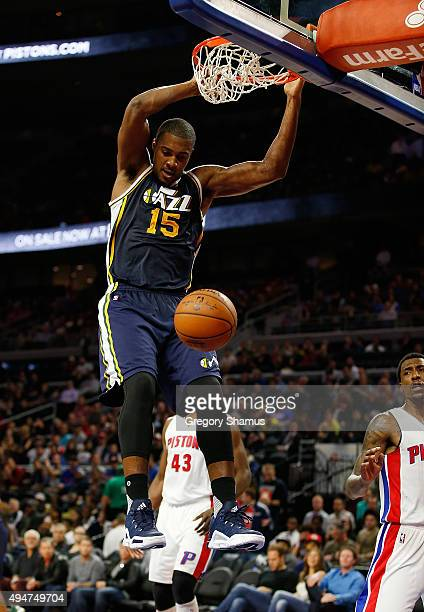 Derrick Favors of the Utah Jazz gets in for a second half dunk while playing the Detroit Pistons at the Palace of Auburn Hills on October 28 2015 in...