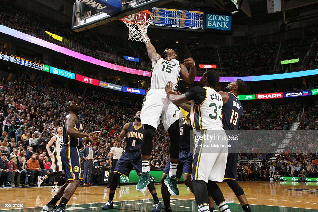 Derrick Favors of the Utah Jazz goes for the layup against the Indiana Pacers during the game on December 5 2015 at Vivint Smart Home Arena in Salt...