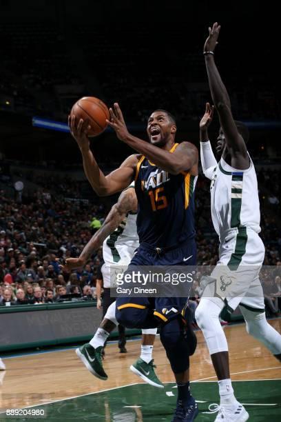 Derrick Favors of the Utah Jazz goes to the basket against the Milwaukee Bucks on December 9 2017 at the BMO Harris Bradley Center in Milwaukee...