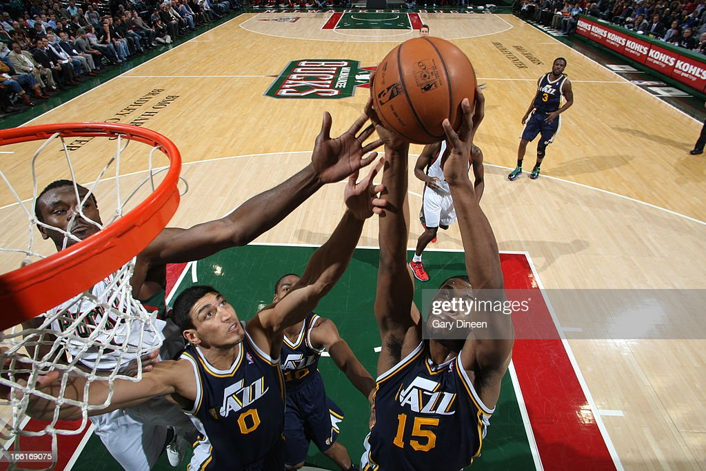 <a gi-track='captionPersonalityLinkClicked' href=/galleries/search?phrase=Derrick+Favors&family=editorial&specificpeople=5792014 ng-click='$event.stopPropagation()'>Derrick Favors</a> #15 of the Utah Jazz grabs a rebound against against the Milwaukee Bucks on March 4, 2013 at the BMO Harris Bradley Center in Milwaukee, Wisconsin.