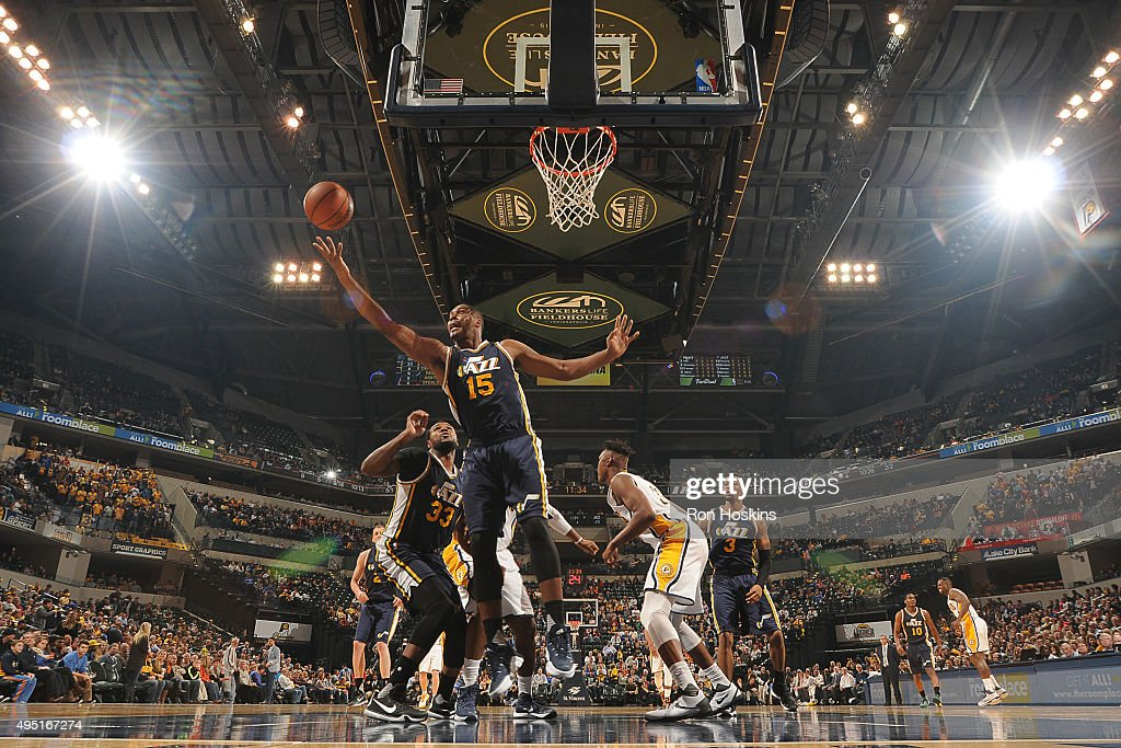 Derrick Favors of the Utah Jazz grabs the rebound against the Indiana Pacers on October 31 2015 at Bankers Life Fieldhouse in Indianapolis Indiana...