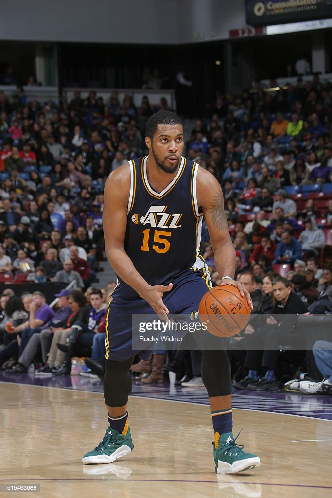 Derrick Favors of the Utah Jazz handles the ball against the Sacramento Kings on March 13 2016 at Sleep Train Arena in Sacramento California NOTE TO...