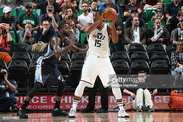 Derrick Favors of the Utah Jazz handles the ball against the Memphis Grizzlies on November 14 2016 at vivintSmartHome Arena in Salt Lake City Utah...