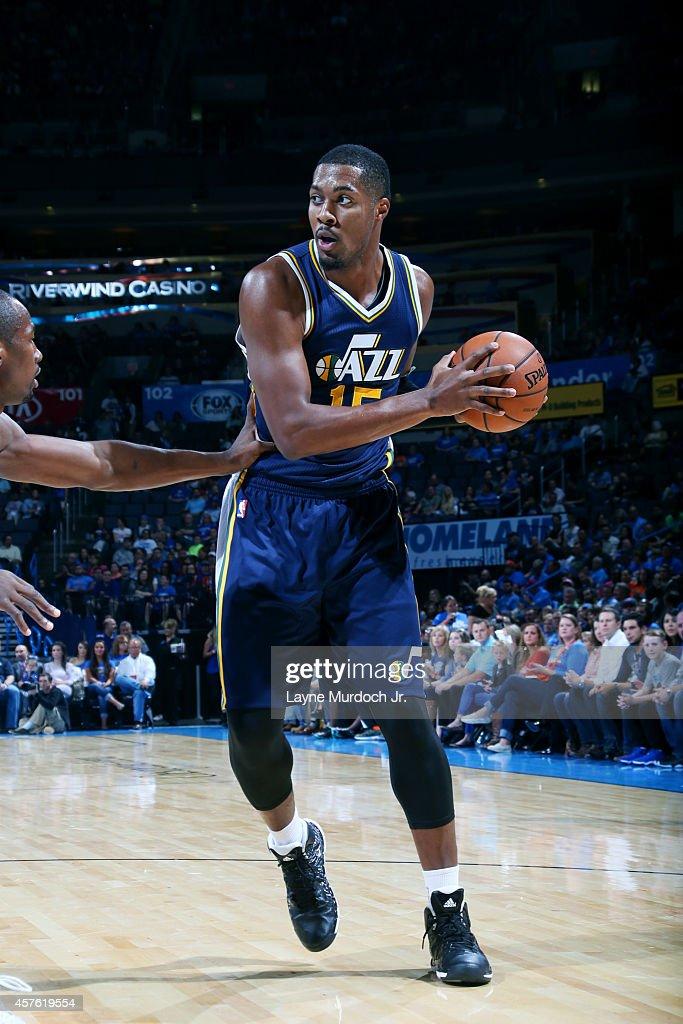 Derrick Favors of the Utah Jazz handles the ball against the Oklahoma City Thunder on October 21 2014 at Chesapeake Energy Arena in Oklahoma City OK...
