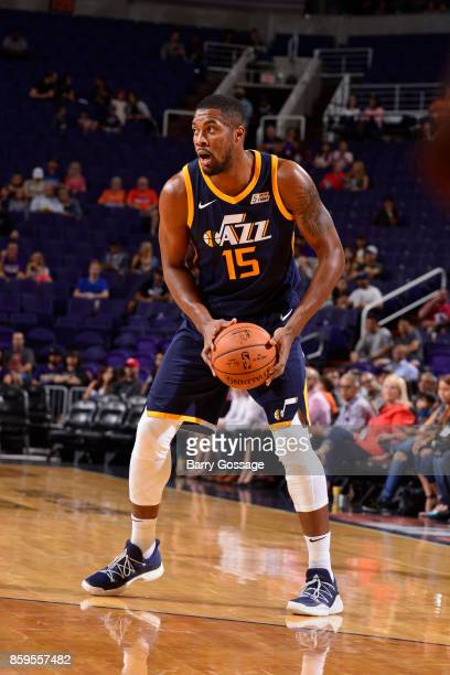 Derrick Favors of the Utah Jazz handles the ball against the Phoenix Suns on October 9 2017 at Talking Stick Resort Arena in Phoenix Arizona NOTE TO...