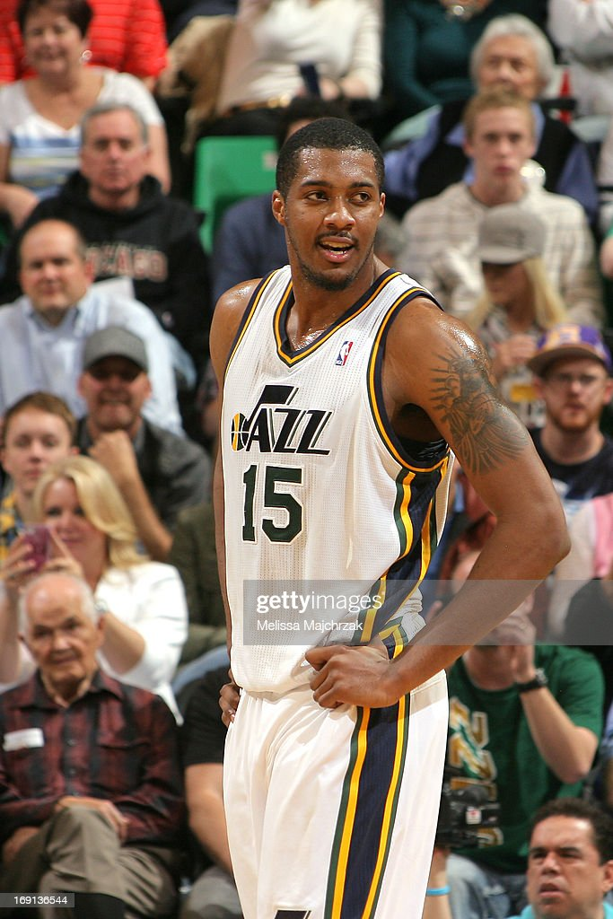 <a gi-track='captionPersonalityLinkClicked' href=/galleries/search?phrase=Derrick+Favors&family=editorial&specificpeople=5792014 ng-click='$event.stopPropagation()'>Derrick Favors</a> #15 of the Utah Jazz looks on during the game against the Minnesota Timberwolves at Energy Solutions Arena on April 12, 2013 in Salt Lake City, Utah.