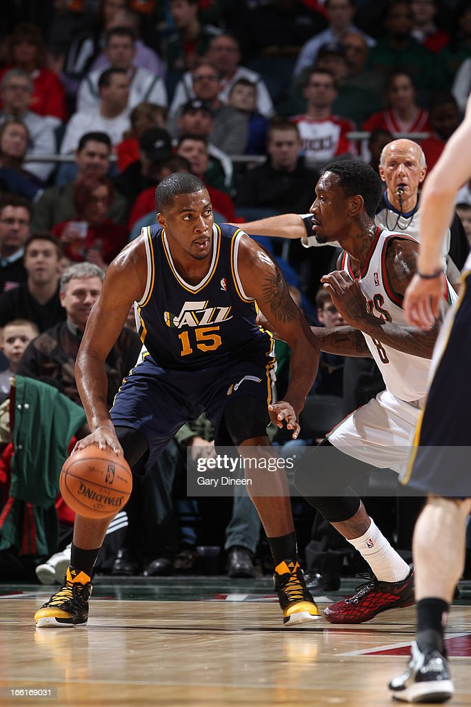 <a gi-track='captionPersonalityLinkClicked' href=/galleries/search?phrase=Derrick+Favors&family=editorial&specificpeople=5792014 ng-click='$event.stopPropagation()'>Derrick Favors</a> #15 of the Utah Jazz looks to drive to the basket against the Milwaukee Bucks on March 4, 2013 at the BMO Harris Bradley Center in Milwaukee, Wisconsin.
