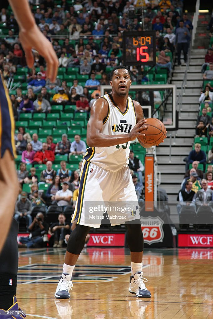 Derrick Favors of the Utah Jazz looks to move the ball against the Los Angeles Lakers during the game at EnergySolutions Arena on February 25 2015 in...