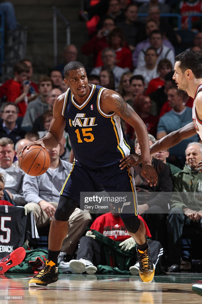 <a gi-track='captionPersonalityLinkClicked' href=/galleries/search?phrase=Derrick+Favors&family=editorial&specificpeople=5792014 ng-click='$event.stopPropagation()'>Derrick Favors</a> #15 of the Utah Jazz looks to pass the ball against the Milwaukee Bucks on March 4, 2013 at the BMO Harris Bradley Center in Milwaukee, Wisconsin.