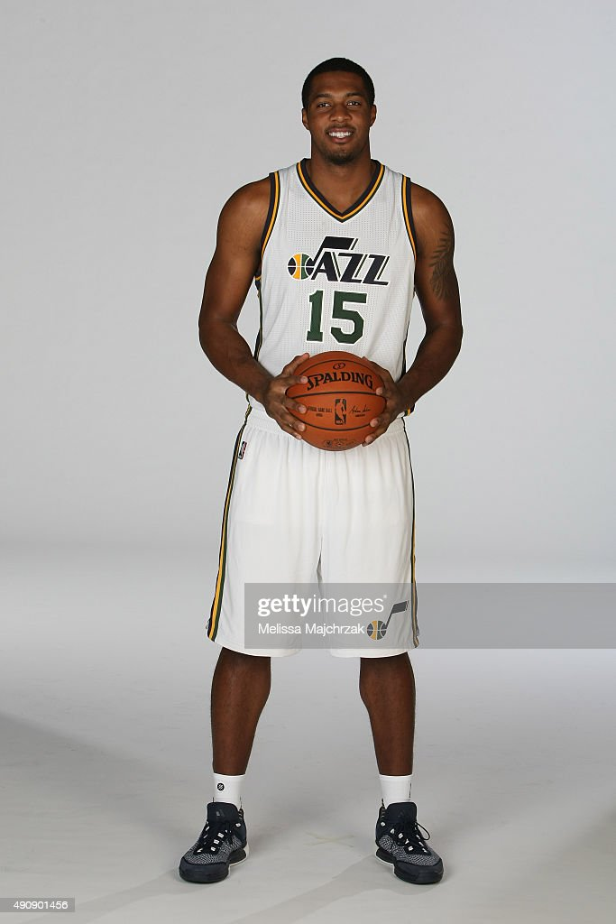 Derrick Favors of the Utah Jazz poses for a photo during Media Day at Zions Basketball Center on September 28 2015 in Salt Lake City Utah NOTE TO...