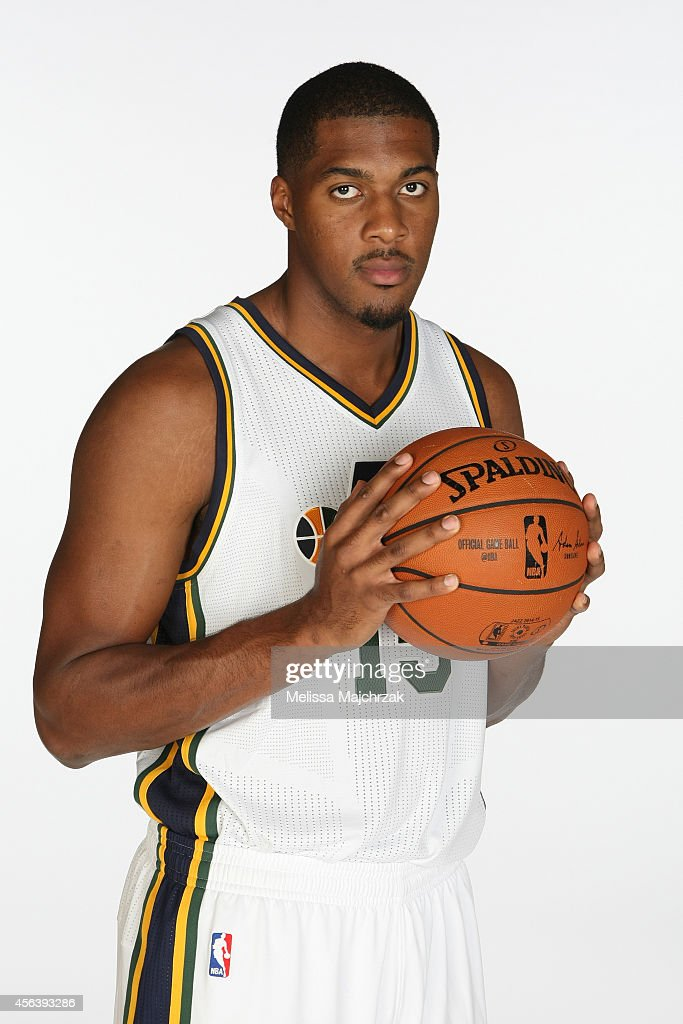 Derrick Favors of the Utah Jazz poses for a photo during the 2014 NBA Jazz Media Day at Zions Basketball Center on September 29 2014 in Salt Lake...