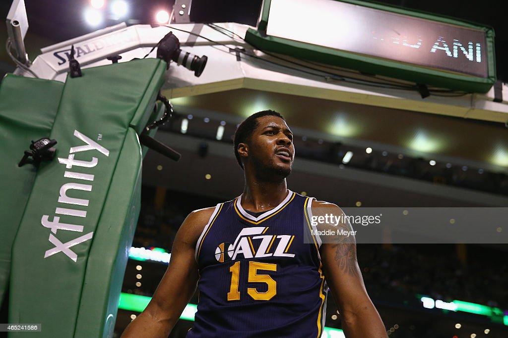 Derrick Favors of the Utah Jazz reacts after a foul is called against him in the second quarter against the Boston Celtics at TD Garden on March 4...