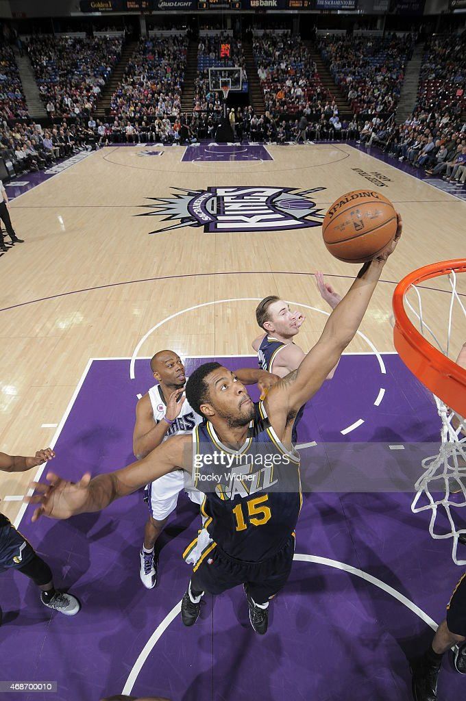 Derrick Favors of the Utah Jazz rebounds the ball against the Sacramento Kings at Sleep Train Arena on April 5 2015 in Sacramento California NOTE TO...