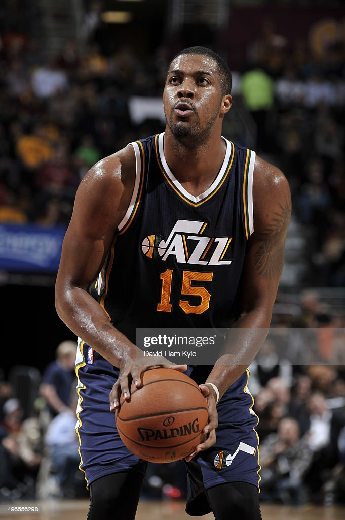 Derrick Favors of the Utah Jazz shoots a free throw against the Cleveland Cavaliers on November 10 2015 at Quicken Loans Arena in Cleveland Ohio NOTE...