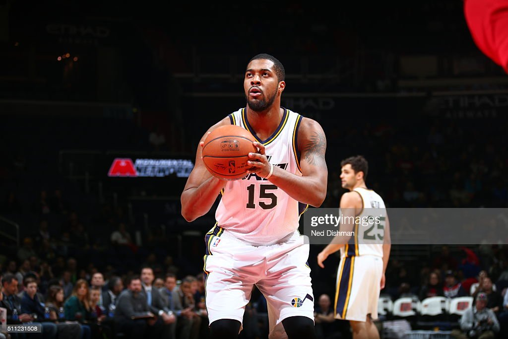 Derrick Favors of the Utah Jazz shoots a free throw against the Washington Wizards on February 18 2016 at Verizon Center in Washington DC NOTE TO...