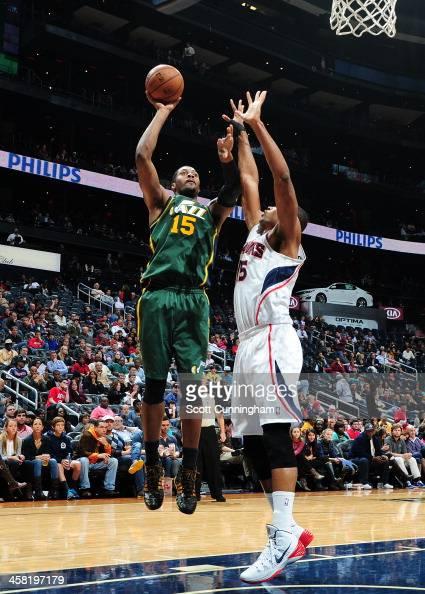 Derrick Favors of the Utah Jazz shoots the ball against the Atlanta Hawks on December 20 2013 at Philips Arena in Atlanta Georgia NOTE TO USER User...