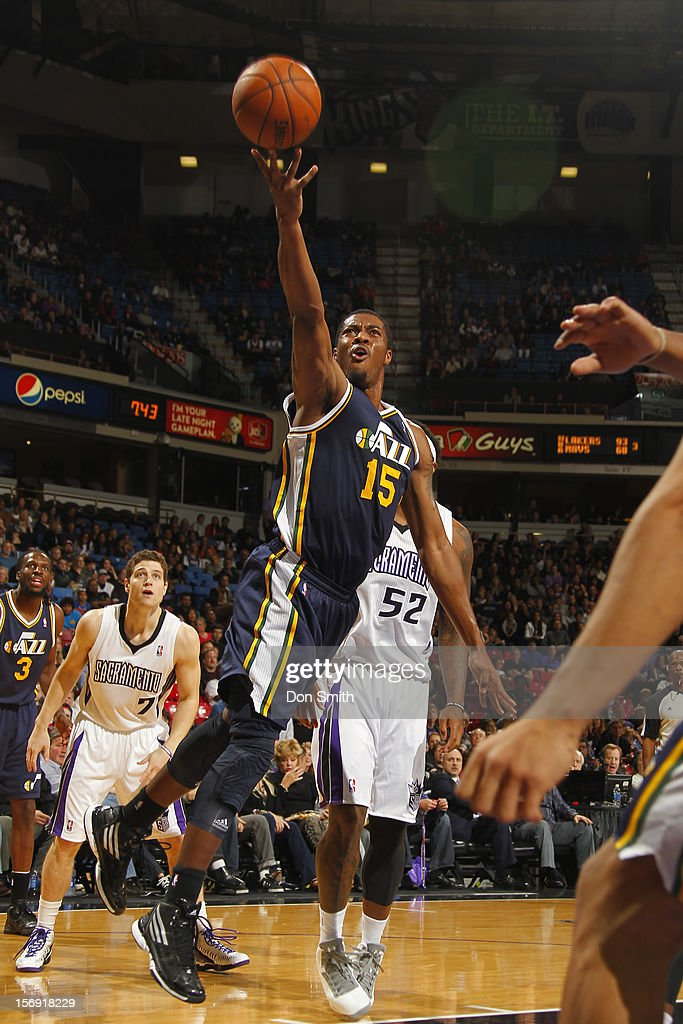 <a gi-track='captionPersonalityLinkClicked' href=/galleries/search?phrase=Derrick+Favors&family=editorial&specificpeople=5792014 ng-click='$event.stopPropagation()'>Derrick Favors</a> #15 of the Utah Jazz shoots the ball against the Sacramento Kings on November 24, 2012 at Sleep Train Arena in Sacramento, California.