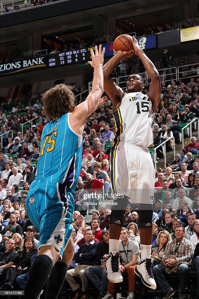 Derrick Favors #15 of the Utah Jazz shoots the ball against the New Orleans Hornets at Energy Solutions Arena on January 30, 2013 in Salt Lake City, Utah.