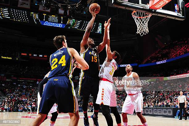 Derrick Favors of the Utah Jazz shoots the ball during the game on November 15 2015 at Philips Center in Atlanta Georgia NOTE TO USER User expressly...