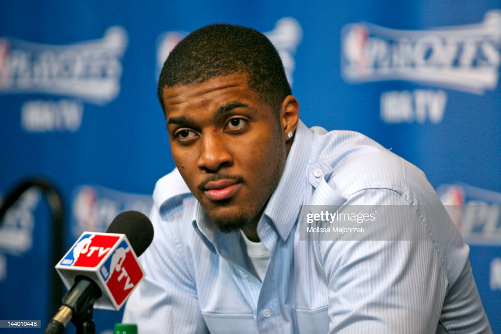<a gi-track='captionPersonalityLinkClicked' href=/galleries/search?phrase=Derrick+Favors&family=editorial&specificpeople=5792014 ng-click='$event.stopPropagation()'>Derrick Favors</a> #15 of the Utah Jazz speaks after his team's loss to the San Antonio Spurs in Game Four of the Western Conference Quarterfinals during the 2012 NBA Playoffs at Energy Solutions Arena on May 7, 2012 in Salt Lake City, Utah.