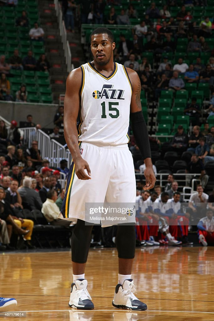 Derrick Favors of the Utah Jazz stands on the court during a game against the Los Angeles Clippers at EnergySolutions Arena on October 13 2014 in...