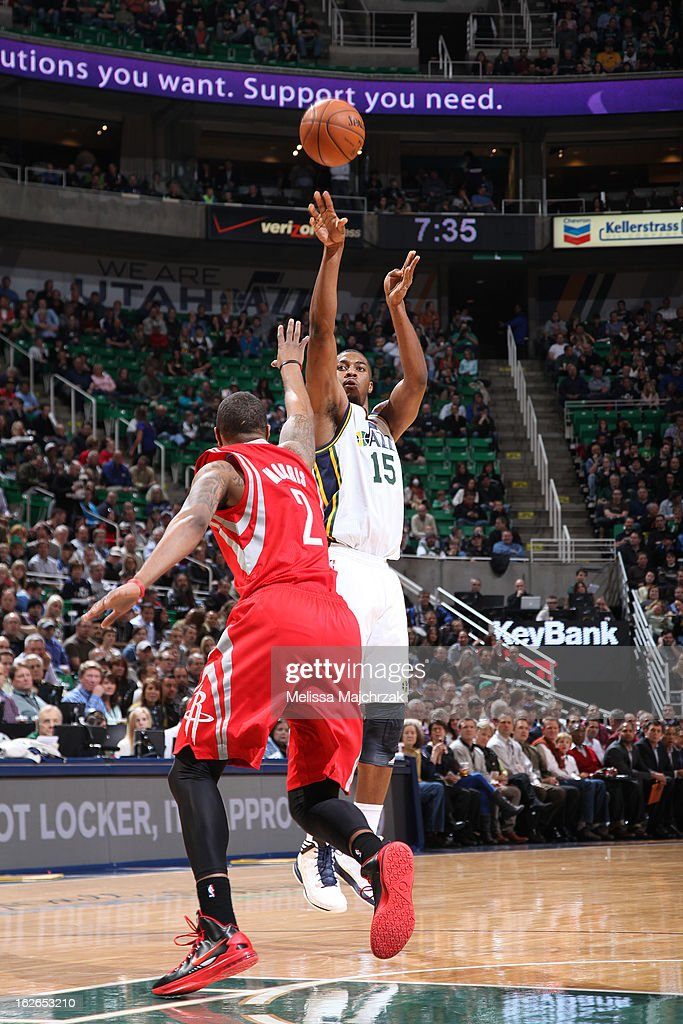 <a gi-track='captionPersonalityLinkClicked' href=/galleries/search?phrase=Derrick+Favors&family=editorial&specificpeople=5792014 ng-click='$event.stopPropagation()'>Derrick Favors</a> #15 of the Utah Jazz takes a shot against the Houston Rockets at Energy Solutions Arena on January 28, 2013 in Salt Lake City, Utah.